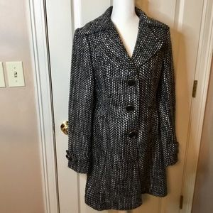 CAbi Salt and Pepper Black & White Boucle Coat - S
